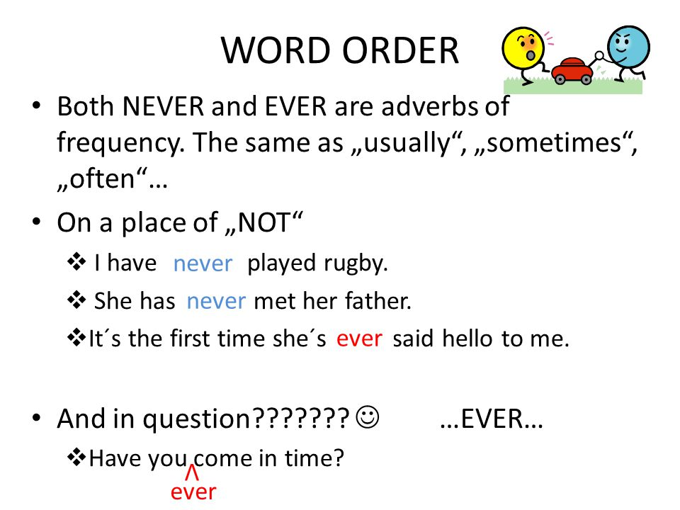 WORD ORDER Both NEVER and EVER are adverbs of frequency.