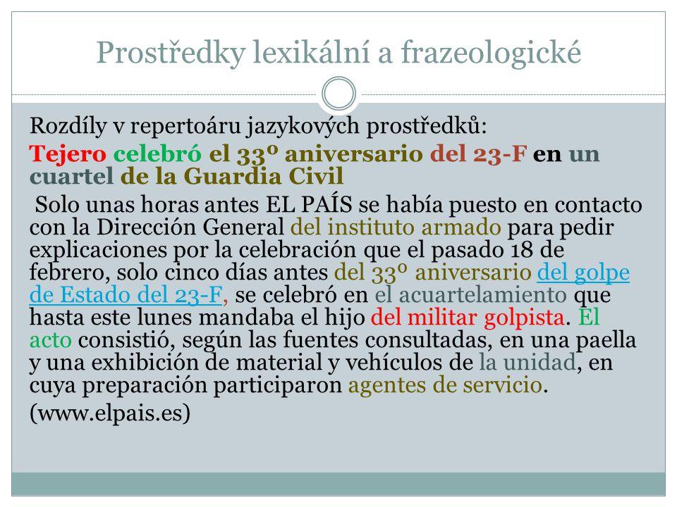 Prostředky lexikální a frazeologické Rozdíly v repertoáru jazykových prostředků: Tejero celebró el 33º aniversario del 23-F en un cuartel de la Guardi