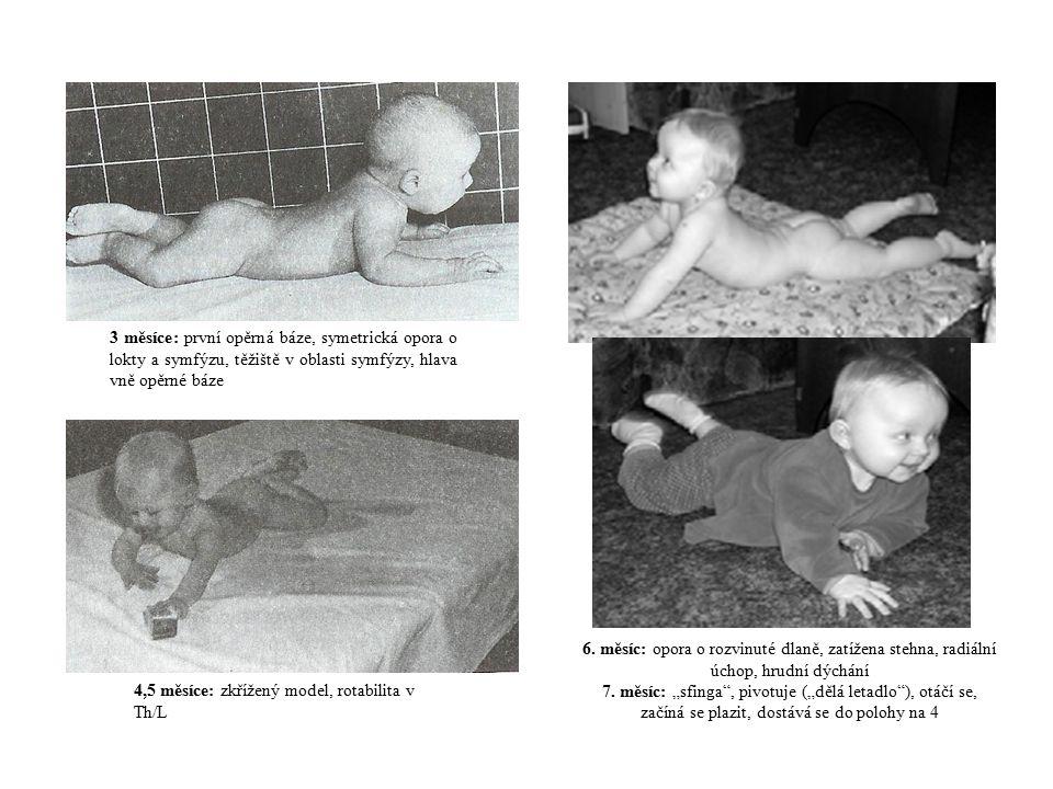 Novorozenec (0-6 týdnů): asymetrická poloha na zádech, zatížení na čelistní straně, primitivní kopání 6 – 8 týdnů: postavení šermíře: vyjádření optického kontaktu – ROT hlavy – končetina na čelistní straně se pohybují do EXT, na záhlavní straně do FLX 3 měsíce: symetrická poloha na zádech: opora o kontrahovaný m.