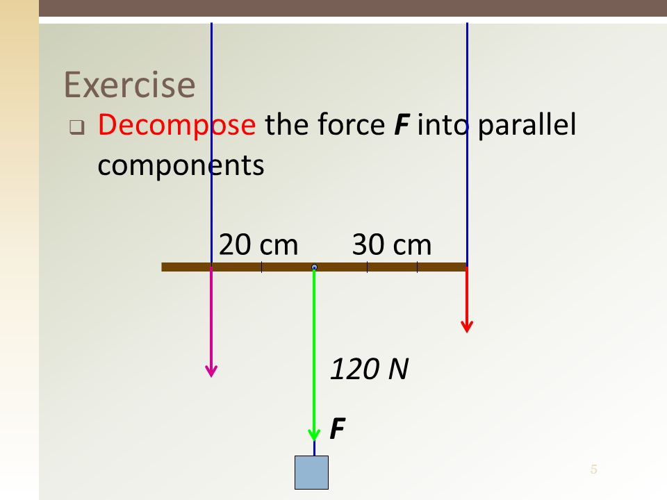 5 Exercise  Decompose the force F into parallel components 120 N F 30 cm20 cm