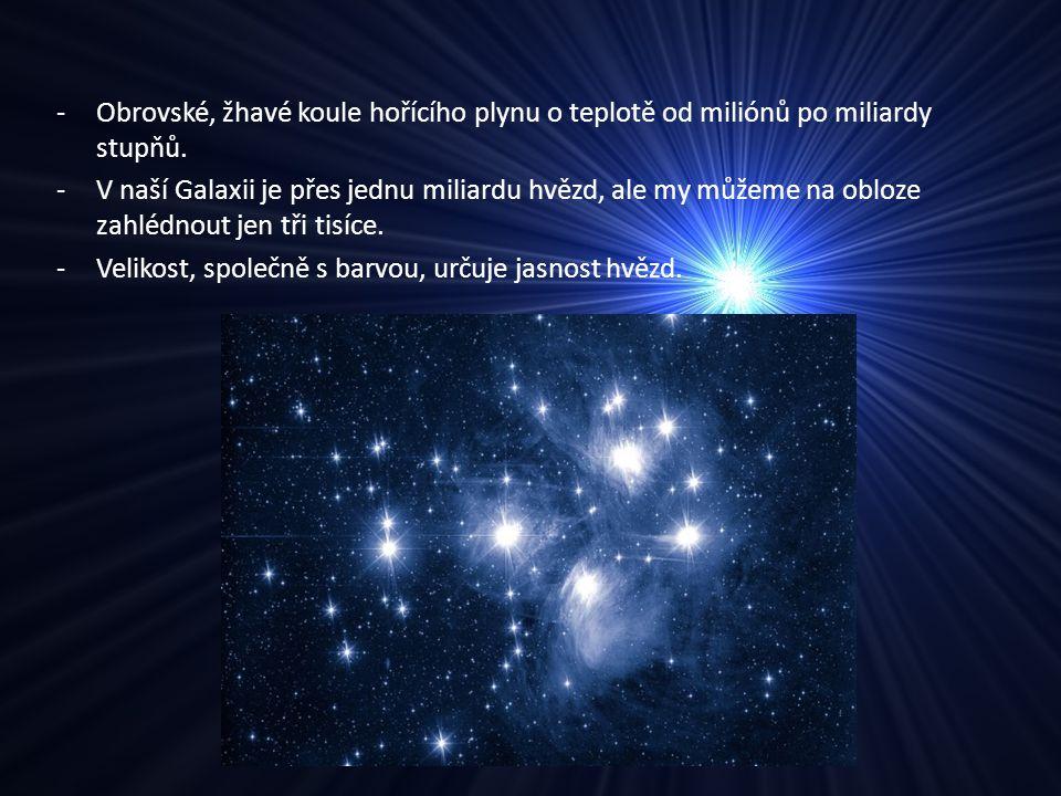 -Obrovské, žhavé koule hořícího plynu o teplotě od miliónů po miliardy stupňů. -V naší Galaxii je přes jednu miliardu hvězd, ale my můžeme na obloze z