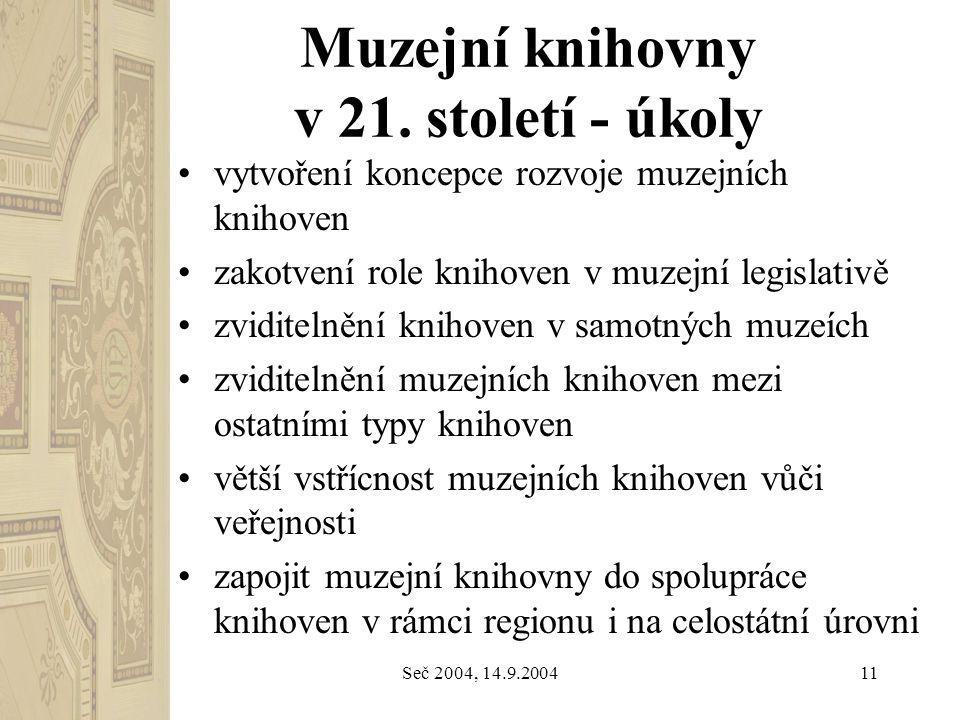 Seč 2004, 14.9.200411 Muzejní knihovny v 21. století - úkoly vytvoření koncepce rozvoje muzejních knihoven zakotvení role knihoven v muzejní legislati