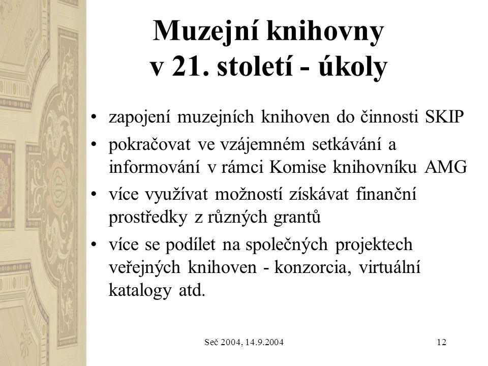 Seč 2004, 14.9.200412 Muzejní knihovny v 21. století - úkoly zapojení muzejních knihoven do činnosti SKIP pokračovat ve vzájemném setkávání a informov