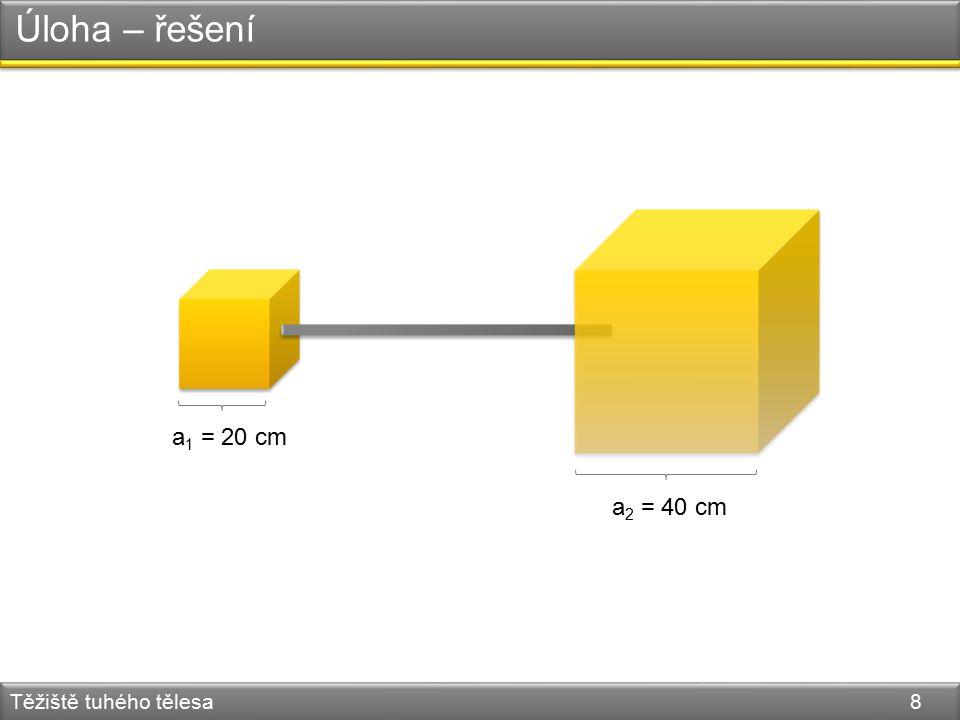 Úloha – řešení Těžiště tuhého tělesa 8 a 1 = 20 cm a 2 = 40 cm