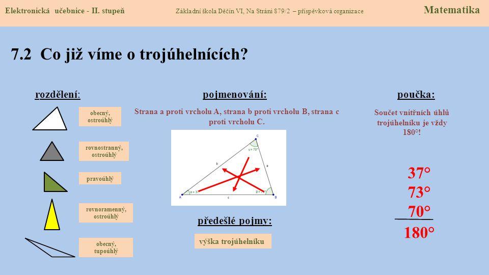 7.1 Těžnice v trojúhelníku (rozdělení, názvosloví) Elektronická učebnice - II.