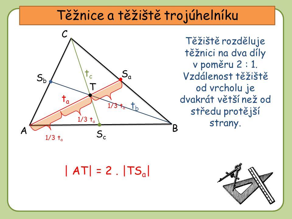 DD Těžnice a těžiště trojúhelníku A C B tbtb tctc tata SaSa SbSb ScSc Těžiště rozděluje těžnici na dva díly v poměru 2 : 1. Vzdálenost těžiště od vrch