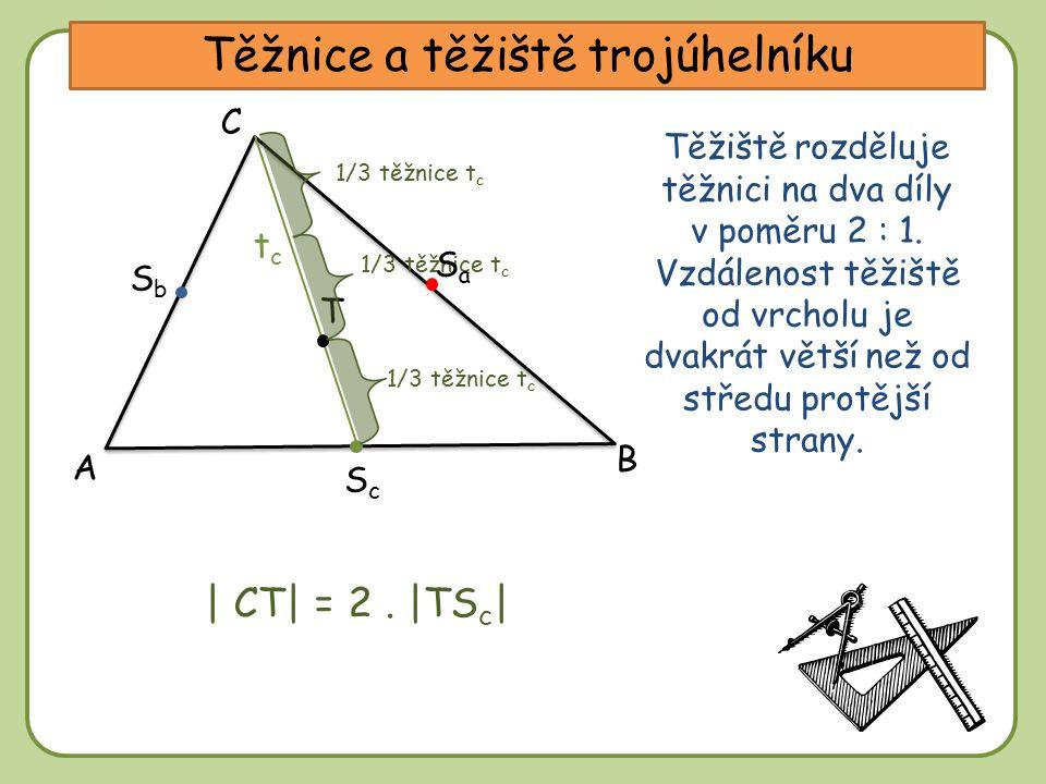 DD Těžnice a těžiště trojúhelníku A C B tctc SbSb ScSc Těžiště rozděluje těžnici na dva díly v poměru 2 : 1. Vzdálenost těžiště od vrcholu je dvakrát