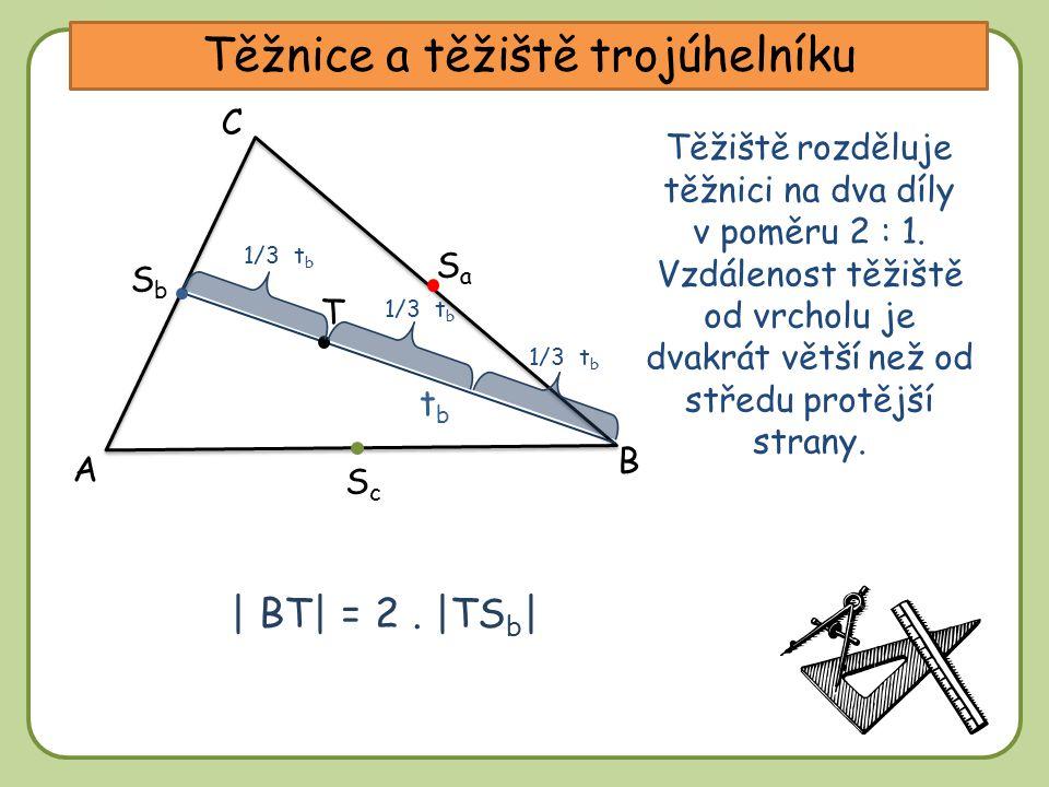 DD Těžnice a těžiště trojúhelníku A C B tbtb SaSa SbSb ScSc Těžiště rozděluje těžnici na dva díly v poměru 2 : 1. Vzdálenost těžiště od vrcholu je dva