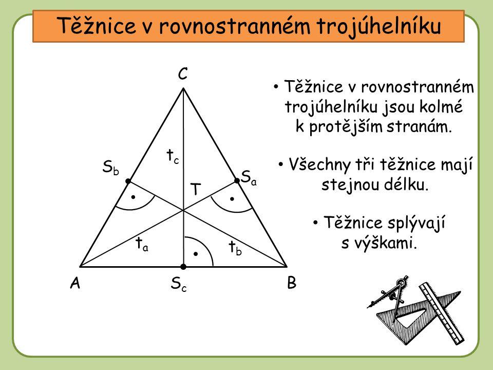 DD Těžnice v rovnostranném trojúhelníku A C tata B tctc Těžnice v rovnostranném trojúhelníku jsou kolmé k protějším stranám. tbtb SaSa SbSb ScSc T Vše