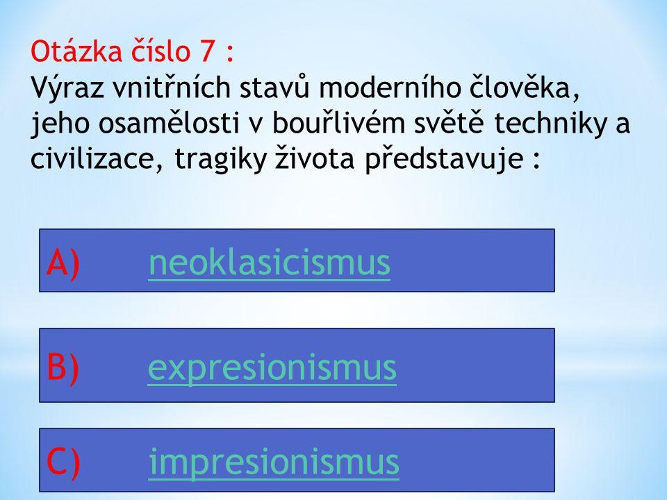 Otázka číslo 6 : Mezi hudební směry v 1. pol. 20.