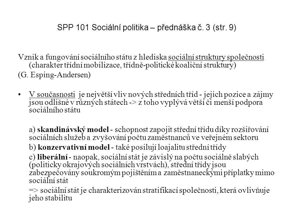 SPP 101 Sociální politika – přednáška č.3 (str.