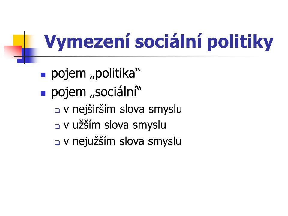 Pojetí sociální politiky paternalistické pojetí reziduální pojetí institucionální pojetí
