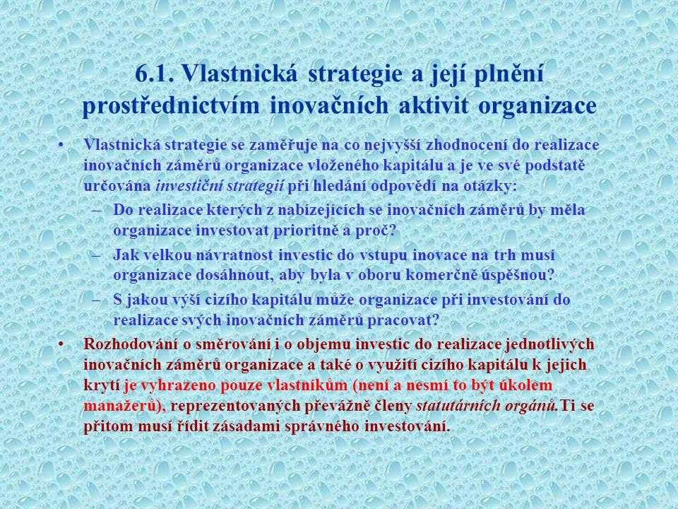 6.1. Vlastnická strategie a její plnění prostřednictvím inovačních aktivit organizace Vlastnická strategie se zaměřuje na co nejvyšší zhodnocení do re