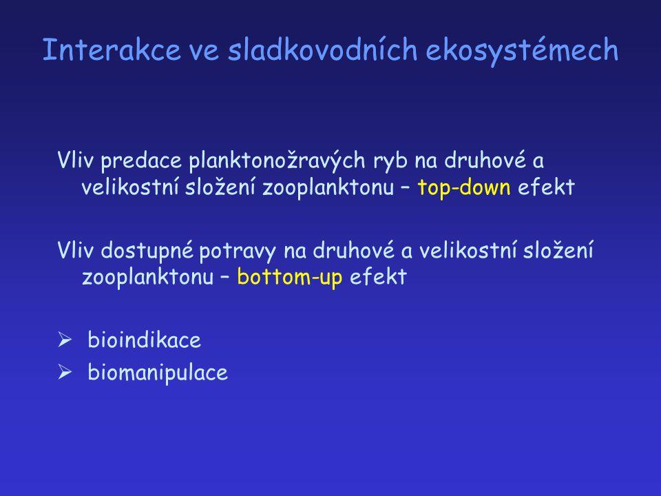 Interakce ve sladkovodních ekosystémech Vliv predace planktonožravých ryb na druhové a velikostní složení zooplanktonu – top-down efekt Vliv dostupné