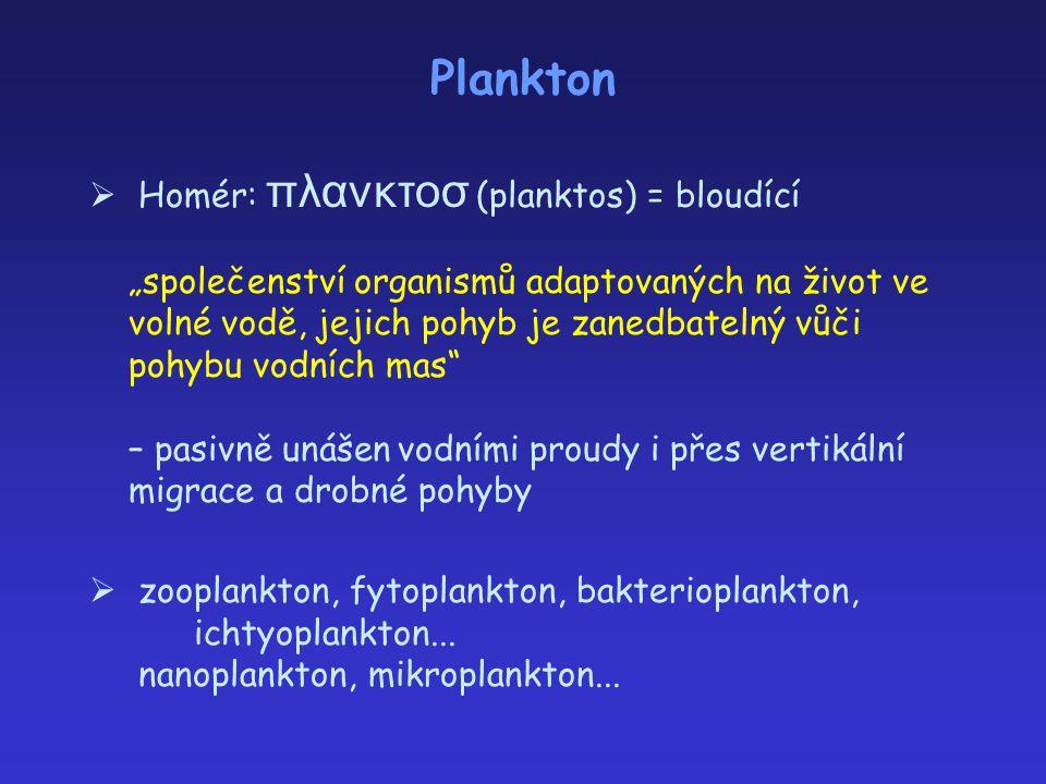 """Plankton  Homér: πλανκτοσ (planktos) = bloudící """"společenství organismů adaptovaných na život ve volné vodě, jejich pohyb je zanedbatelný vůči pohybu"""