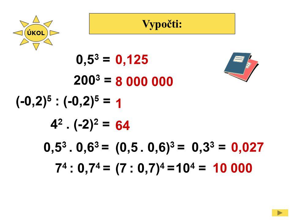 Vypočti: 0,5 3 = 200 3 = (-0,2) 5 : (-0,2) 5 = 0,125 8 000 000 1 64 4 2. (-2) 2 = 0,5 3. 0,6 3 = 0,3 3 = 7 4 : 0,7 4 =10 4 = (0,5. 0,6) 3 =0,027 (7 :