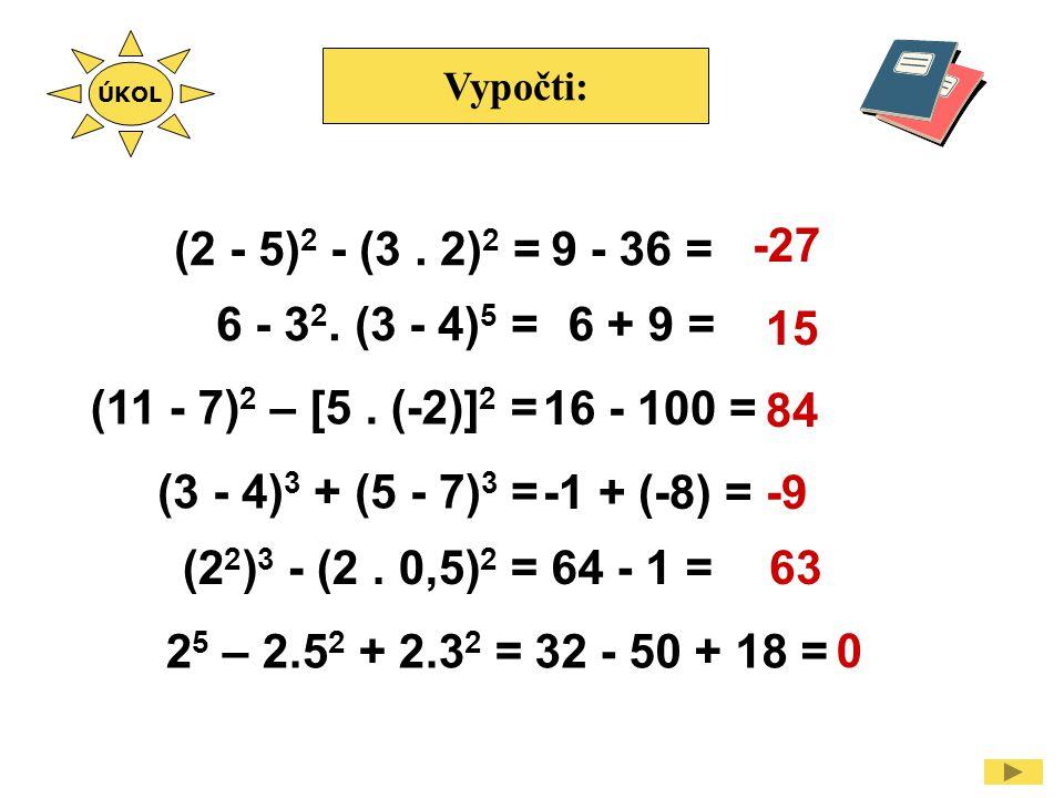 Vypočti: (2 - 5) 2 - (3. 2) 2 = -27 15 84 -9 63 ÚKOL 6 - 3 2. (3 - 4) 5 = (11 - 7) 2 – [5. (-2)] 2 = (3 - 4) 3 + (5 - 7) 3 = (2 2 ) 3 - (2. 0,5) 2 = 2