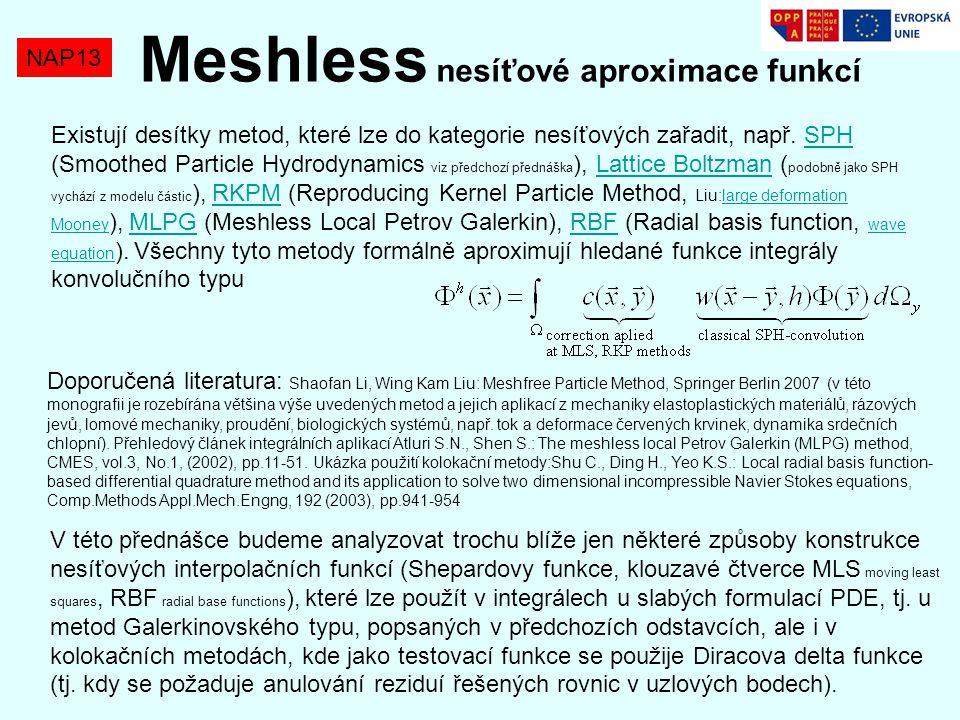 NAP13 Meshless nesíťové aproximace funkcí Doporučená literatura: Shaofan Li, Wing Kam Liu: Meshfree Particle Method, Springer Berlin 2007 (v této mono