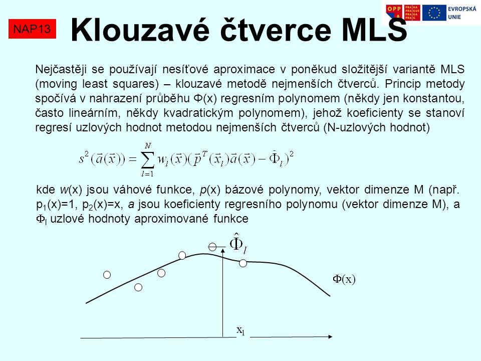 NAP13 Klouzavé čtverce MLS Nejčastěji se používají nesíťové aproximace v poněkud složitější variantě MLS (moving least squares) – klouzavé metodě nejm