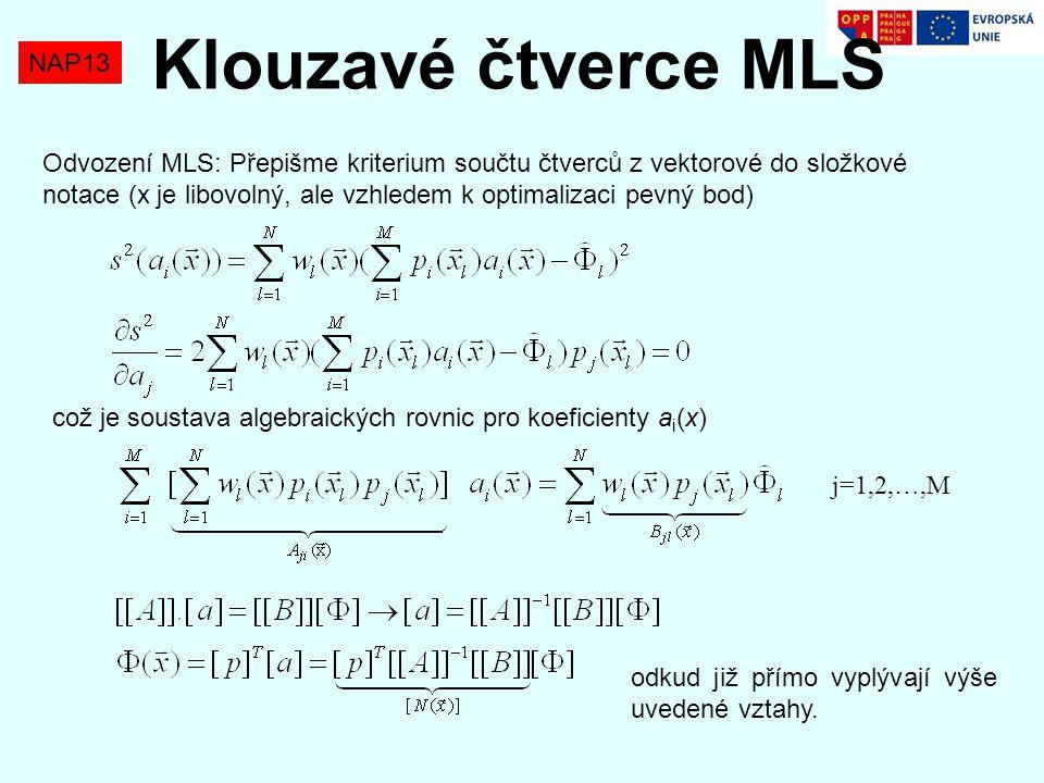 NAP13 Klouzavé čtverce MLS Odvození MLS: Přepišme kriterium součtu čtverců z vektorové do složkové notace (x je libovolný, ale vzhledem k optimalizaci