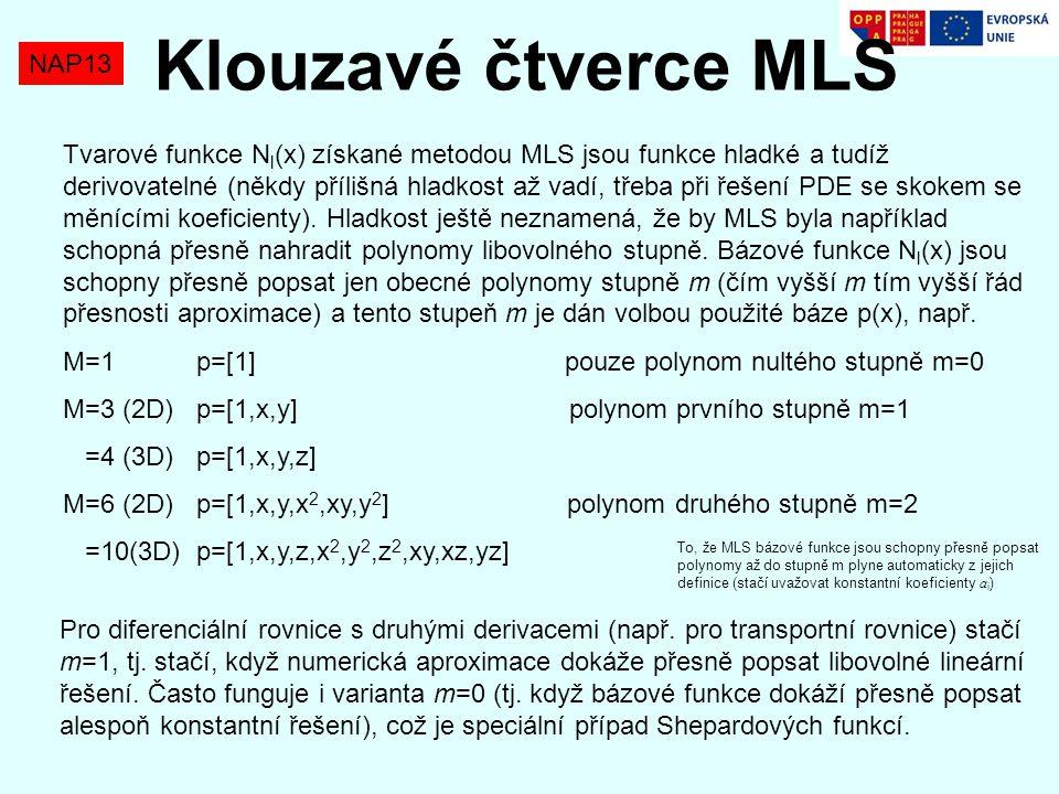 NAP13 Klouzavé čtverce MLS Tvarové funkce N l (x) získané metodou MLS jsou funkce hladké a tudíž derivovatelné (někdy přílišná hladkost až vadí, třeba