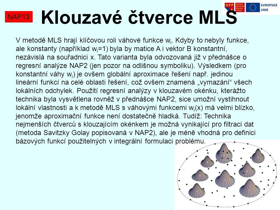 NAP13 Klouzavé čtverce MLS V metodě MLS hrají klíčovou roli váhové funkce w i. Kdyby to nebyly funkce, ale konstanty (například w i =1) byla by matice