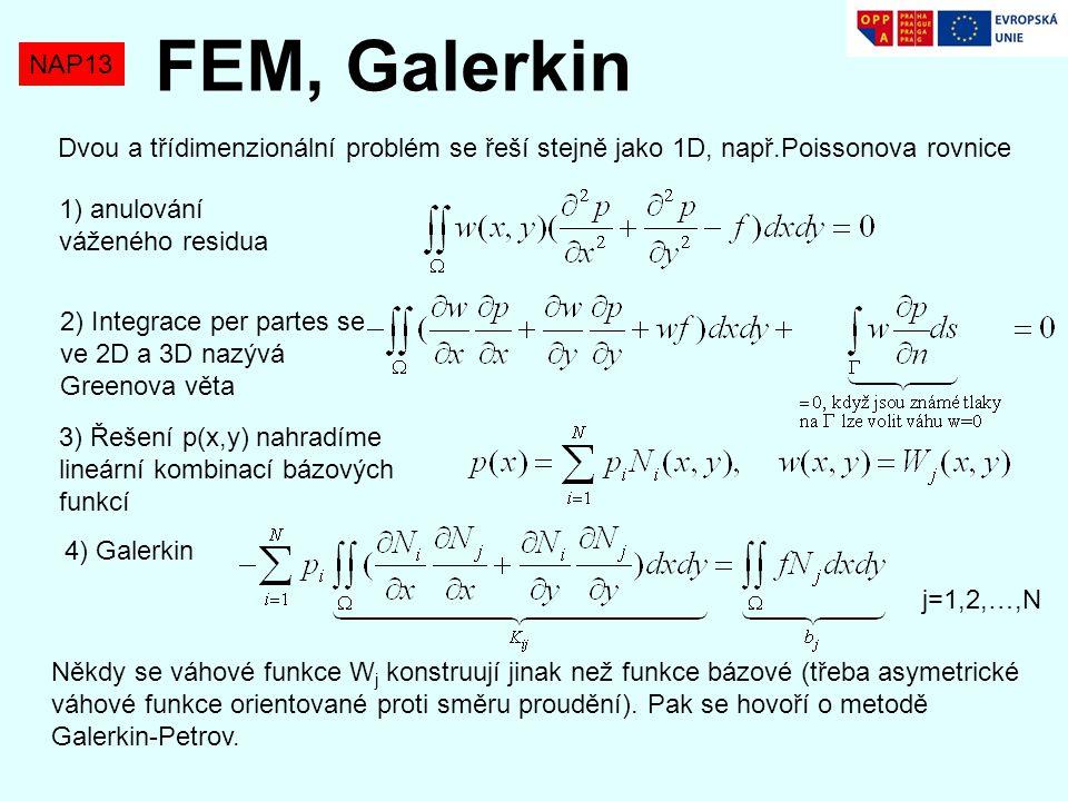 NAP13 FEM, Galerkin Dvou a třídimenzionální problém se řeší stejně jako 1D, např.Poissonova rovnice 1) anulování váženého residua 2) Integrace per par