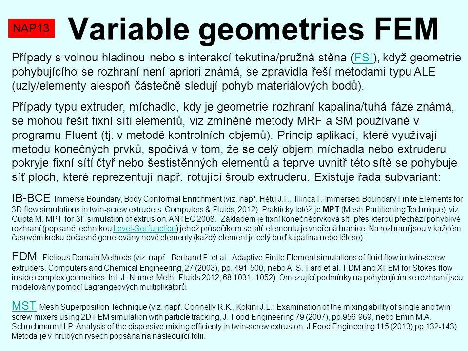 NAP13 Variable geometries FEM Případy s volnou hladinou nebo s interakcí tekutina/pružná stěna (FSI), když geometrie pohybujícího se rozhraní není apr