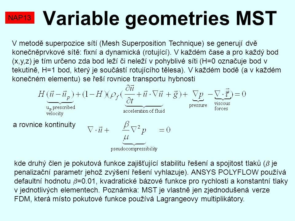 NAP13 Variable geometries MST V metodě superpozice sítí (Mesh Superposition Technique) se generují dvě konečněprvkové sítě: fixní a dynamická (rotujíc