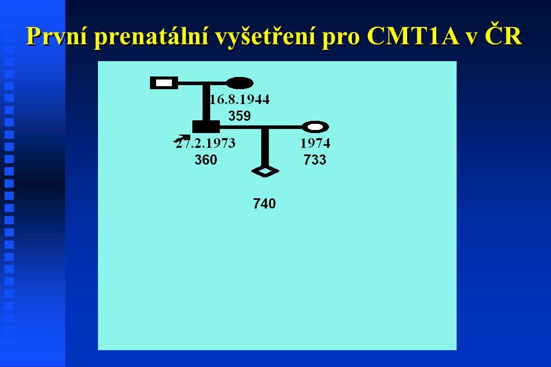 První prenatální vyšetření pro CMT1A v ČR