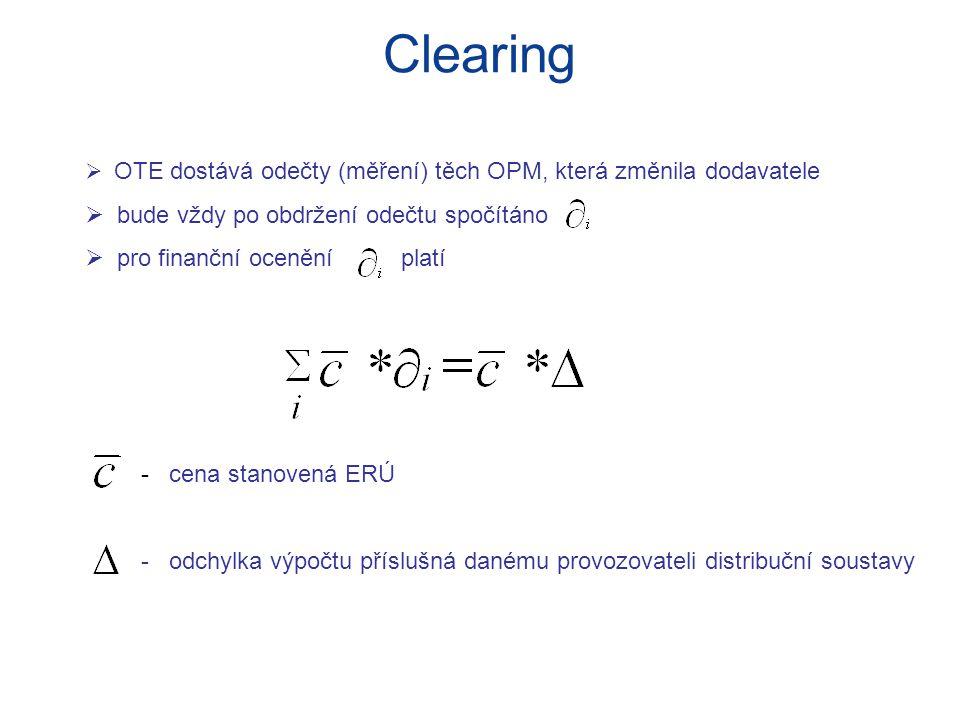 Clearing  OTE dostává odečty (měření) těch OPM, která změnila dodavatele  bude vždy po obdržení odečtu spočítáno  pro finanční ocenění platí - cena