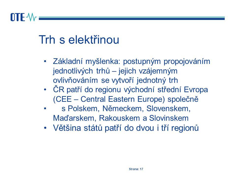 Trh s elektřinou Strana: 17 Základní myšlenka: postupným propojováním jednotlivých trhů – jejich vzájemným ovlivňováním se vytvoří jednotný trh ČR pat