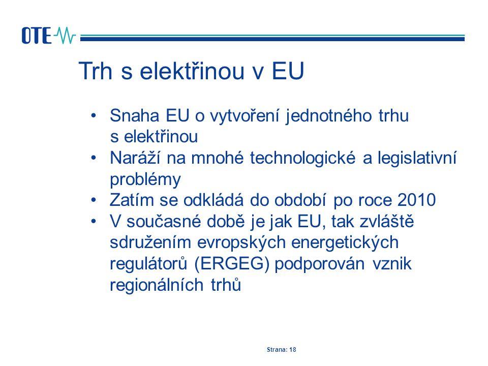 Trh s elektřinou v EU Strana: 18 Snaha EU o vytvoření jednotného trhu s elektřinou Naráží na mnohé technologické a legislativní problémy Zatím se odkl