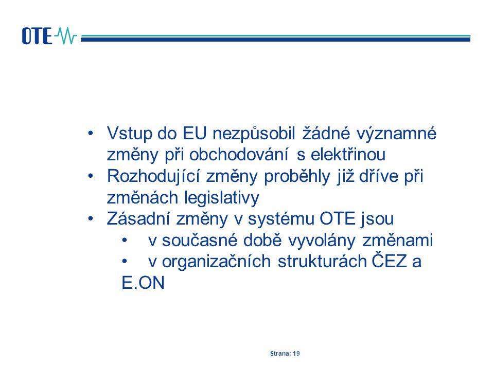 Strana: 19 Vstup do EU nezpůsobil žádné významné změny při obchodování s elektřinou Rozhodující změny proběhly již dříve při změnách legislativy Zásad