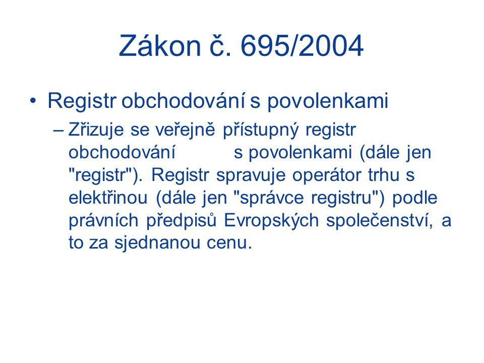 Zákon č. 695/2004 Registr obchodování s povolenkami –Zřizuje se veřejně přístupný registr obchodování s povolenkami (dále jen