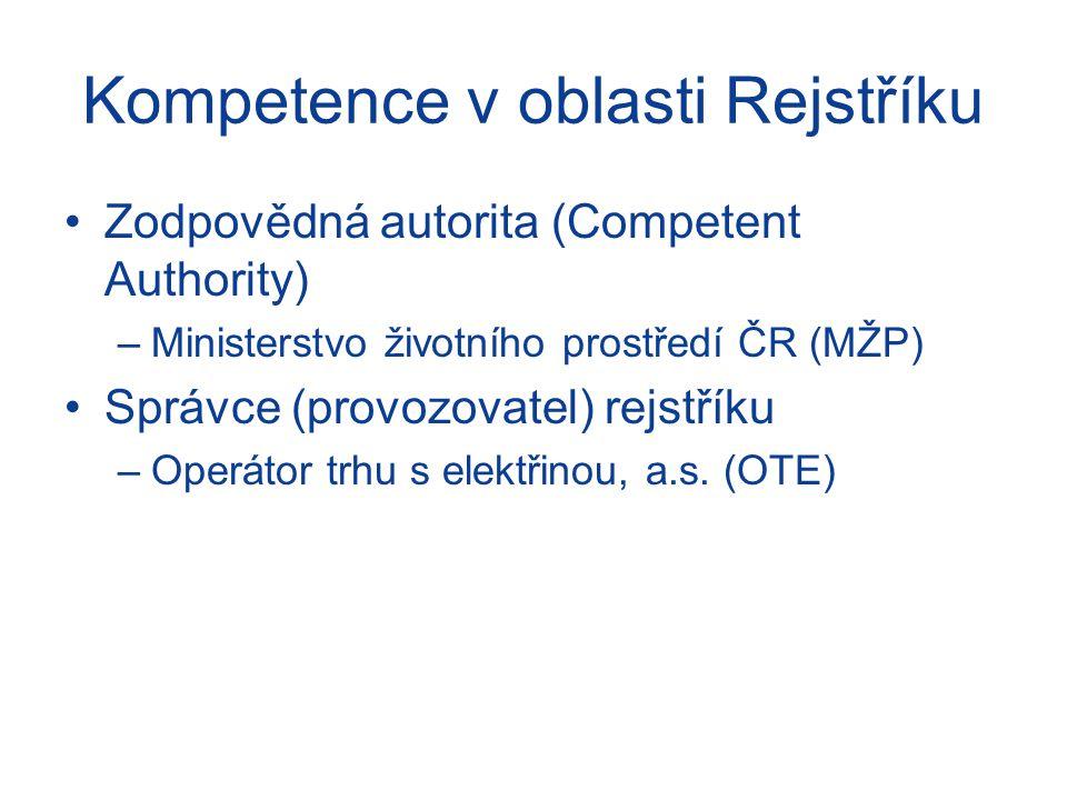 Kompetence v oblasti Rejstříku Zodpovědná autorita (Competent Authority) –Ministerstvo životního prostředí ČR (MŽP) Správce (provozovatel) rejstříku –