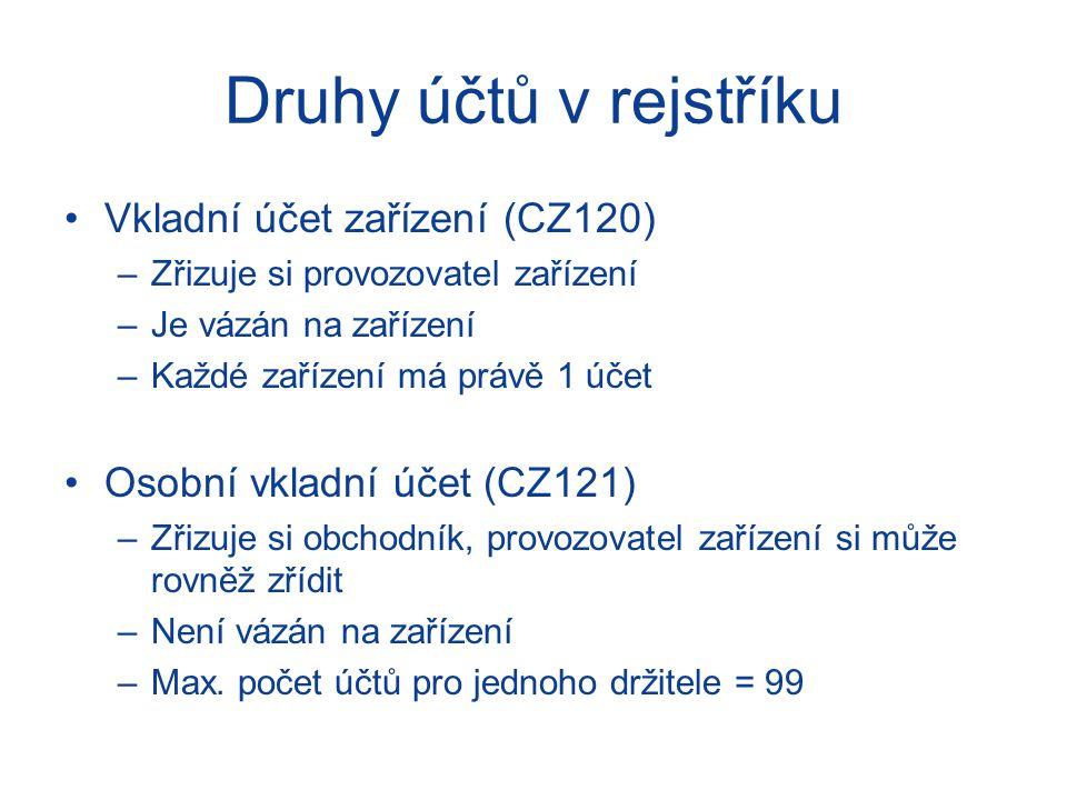Druhy účtů v rejstříku Vkladní účet zařízení (CZ120) –Zřizuje si provozovatel zařízení –Je vázán na zařízení –Každé zařízení má právě 1 účet Osobní vk