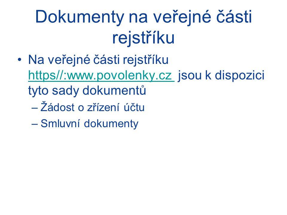 Dokumenty na veřejné části rejstříku Na veřejné části rejstříku https//:www.povolenky.cz jsou k dispozici tyto sady dokumentů https//:www.povolenky.cz