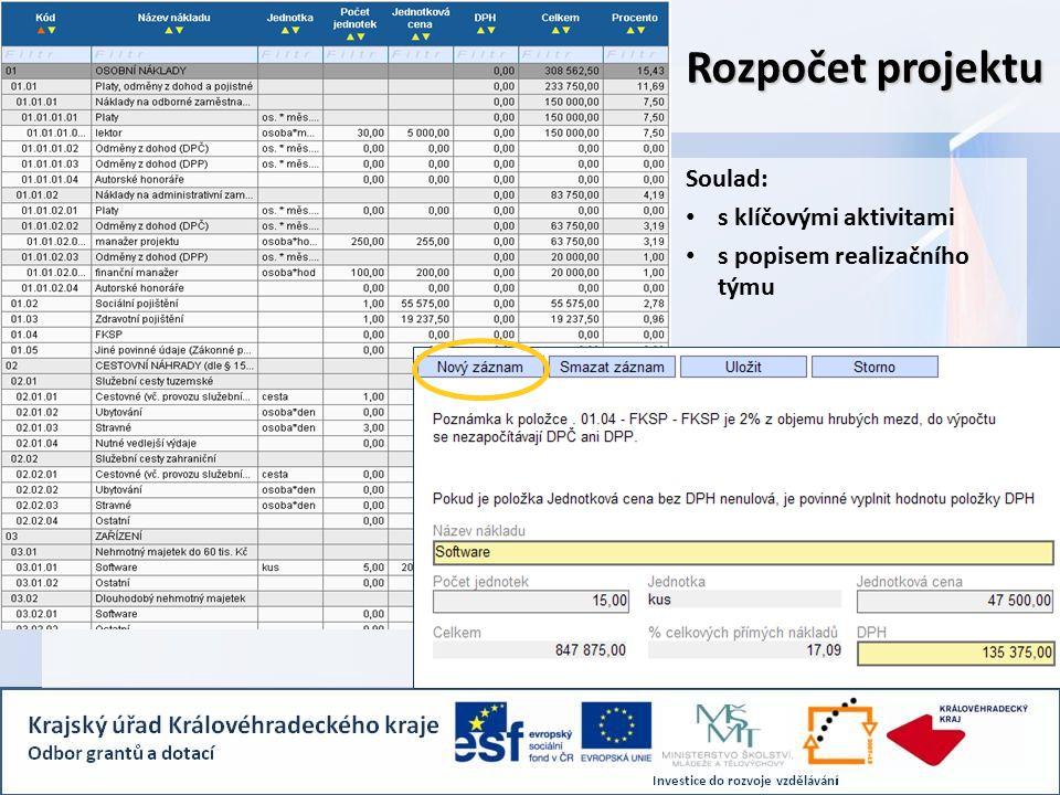 Soulad: s klíčovými aktivitami s popisem realizačního týmu Rozpočet projektu