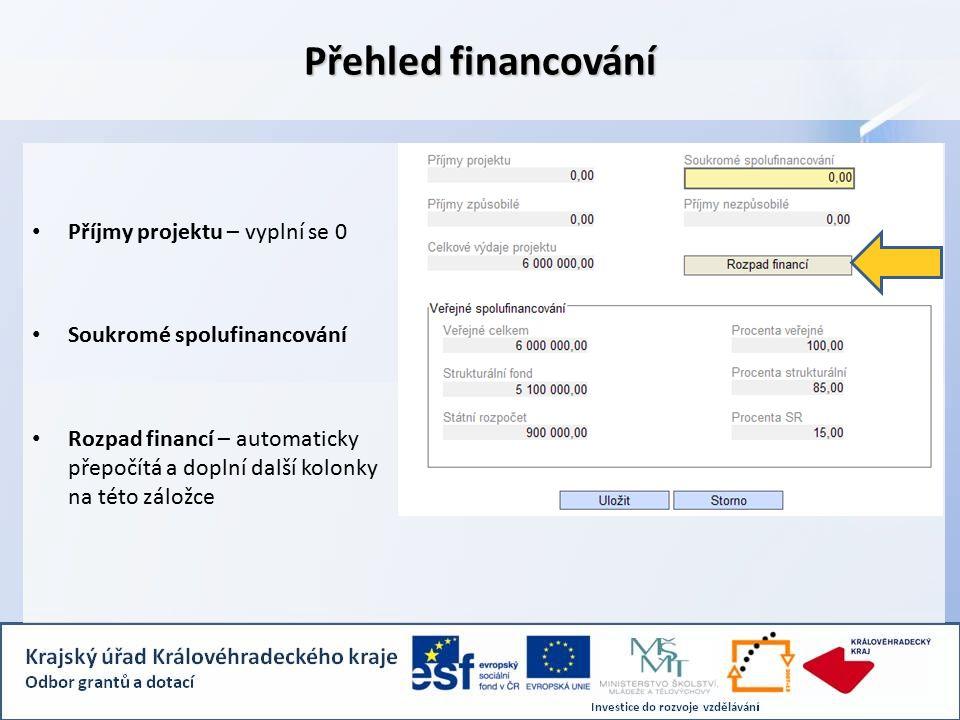 Příjmy projektu – vyplní se 0 Soukromé spolufinancování Rozpad financí – automaticky přepočítá a doplní další kolonky na této záložce Přehled financování