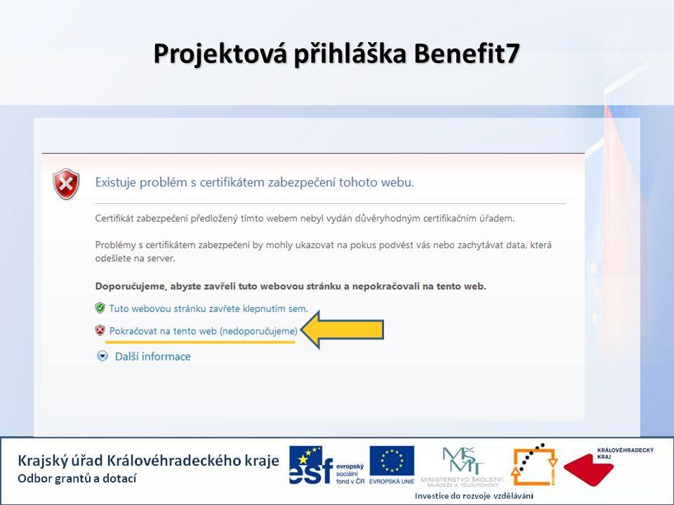 Projektová přihláška Benefit7