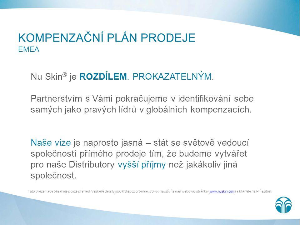 KOMPENZAČNÍ PLÁN PRODEJE EMEA Nu Skin ® je ROZDÍLEM. PROKAZATELNÝM. Partnerstvím s Vámi pokračujeme v identifikování sebe samých jako pravých lídrů v
