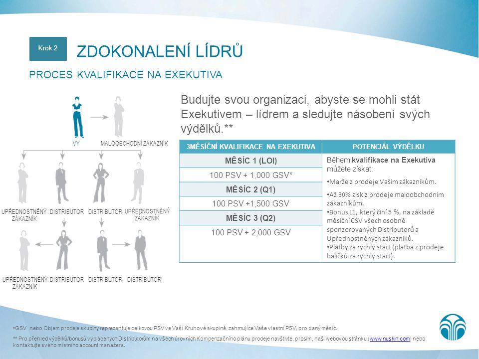 Poznámka: Požadavky na udržení titulu Exekutiva jsou minimum 100 PSV a 2 000 GSV.
