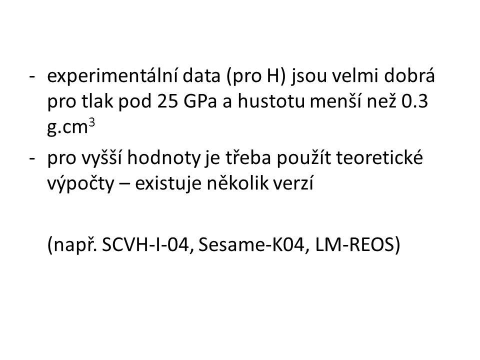-experimentální data (pro H) jsou velmi dobrá pro tlak pod 25 GPa a hustotu menší než 0.3 g.cm 3 -pro vyšší hodnoty je třeba použít teoretické výpočty – existuje několik verzí (např.