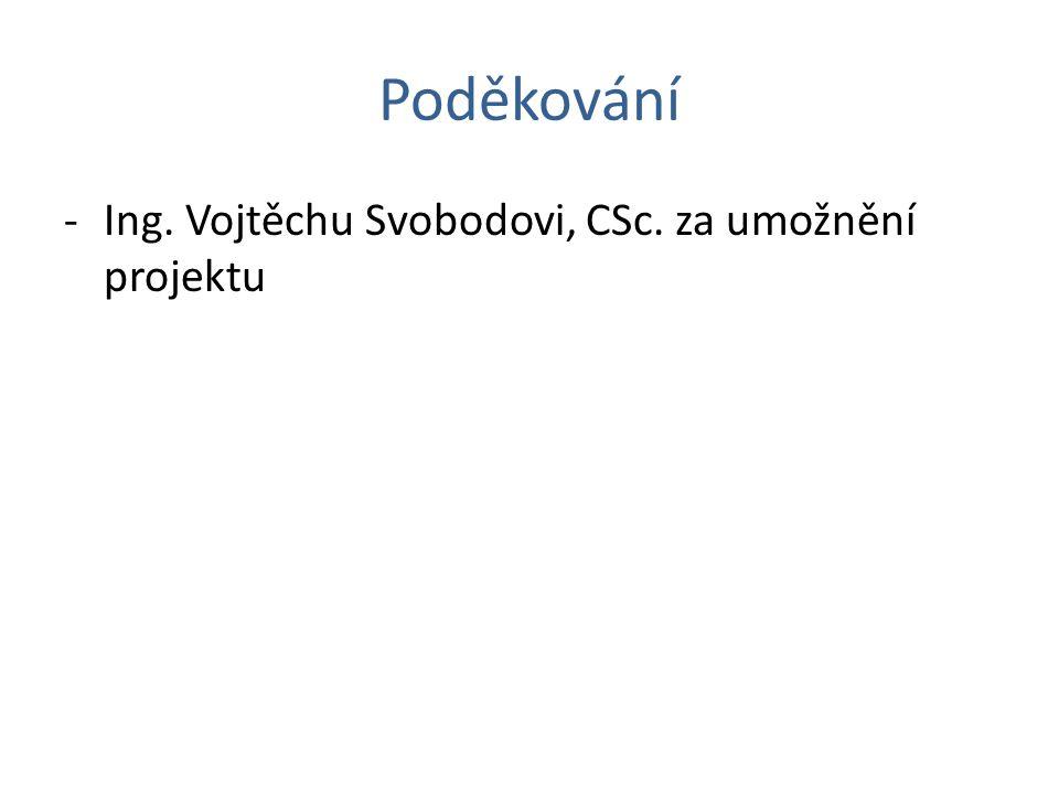 Poděkování -Ing. Vojtěchu Svobodovi, CSc. za umožnění projektu