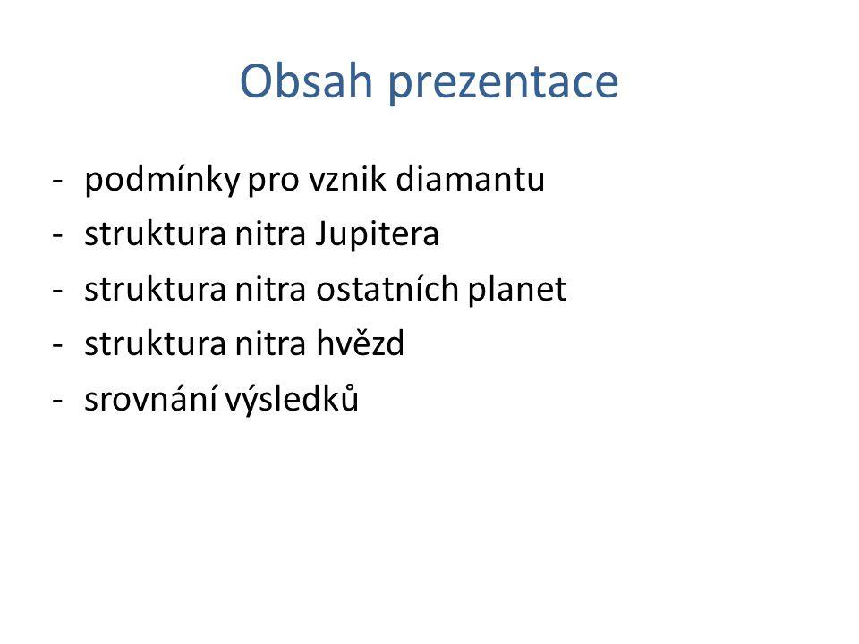 Obsah prezentace -podmínky pro vznik diamantu -struktura nitra Jupitera -struktura nitra ostatních planet -struktura nitra hvězd -srovnání výsledků