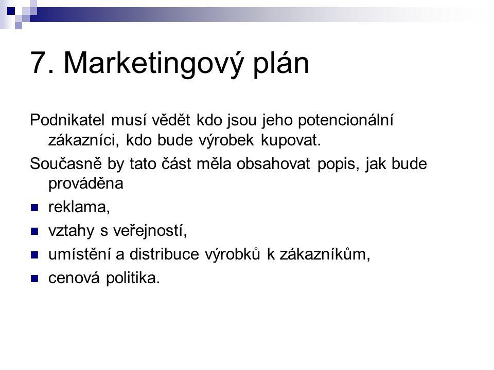 7. Marketingový plán Podnikatel musí vědět kdo jsou jeho potencionální zákazníci, kdo bude výrobek kupovat. Současně by tato část měla obsahovat popis