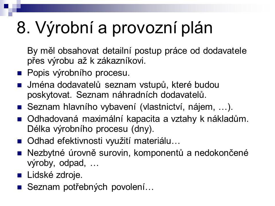 8. Výrobní a provozní plán By měl obsahovat detailní postup práce od dodavatele přes výrobu až k zákazníkovi. Popis výrobního procesu. Jména dodavatel
