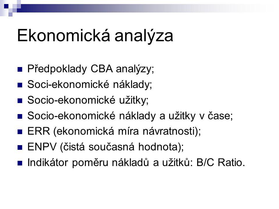 Ekonomická analýza Předpoklady CBA analýzy; Soci-ekonomické náklady; Socio-ekonomické užitky; Socio-ekonomické náklady a užitky v čase; ERR (ekonomick