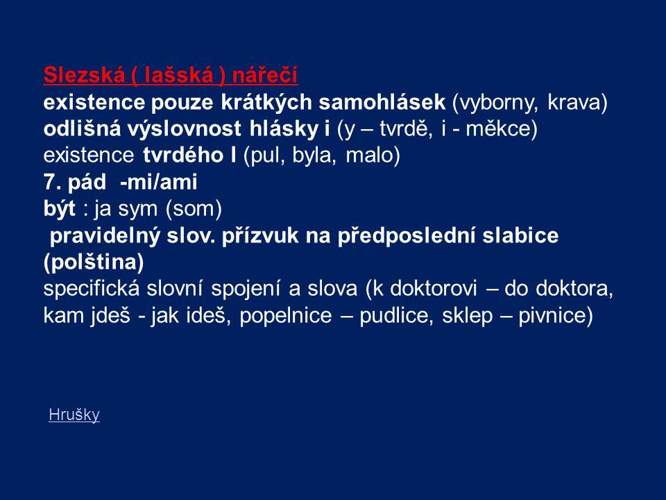Slezská ( lašská ) nářečí existence pouze krátkých samohlásek (vyborny, krava) odlišná výslovnost hlásky i (y – tvrdě, i - měkce) existence tvrdého l
